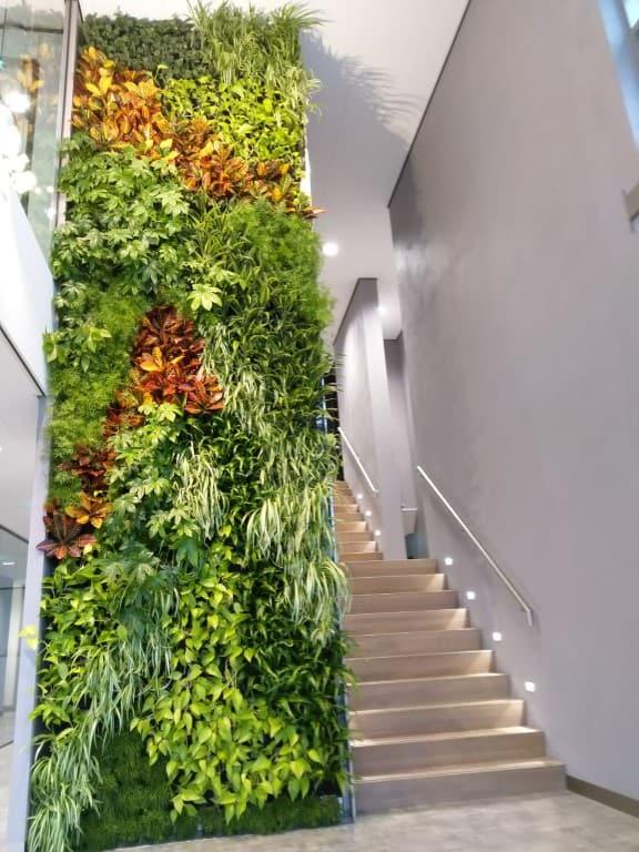 greenwall een verticale tuin met een grote diversiteit aan groene planten en kleurrijke